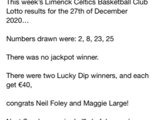 Limerick Celtics first Club Lotto Draw