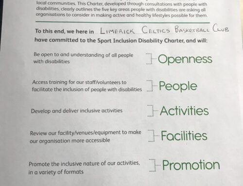 Limerick Celtics have just signed the Cara Sport Inclusion Disability Charter